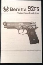 Beretta 92FS Caliber 9mm Parabellum Pistol Gun Instruction and Parts Manual