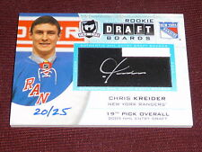 12-13 The Cup Chris Kreider Rookie Draft Boards Auto RC 20/25 * 1/1 His Jersey #