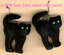 Funky Fuzzy BLACK CAT EARRINGS Gothic Lucky Charm Witch Kitty Costume Jewelry