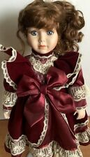 """Geppeddo Porcelain Doll Velvet Dress With Stand 17"""" Collectible"""