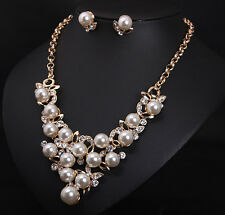 Fashion Women Pearl Rhinestone Necklace Choker Bib Statement Chunky Collar Chain