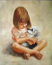 DANDIE DINMONT TERRIER & CHILD DOG ART LIMITED EDITION PRINT by Peter Deighan