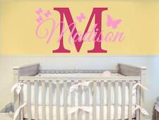 Nursery Decal Initial Name  Wall Decal Childrens Room Girls Name With Butterfly