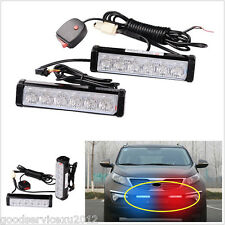 2 Pcs DC12V 6-LED Car Truck Front Grille Emergency Flashing Lights Strobe Lamps
