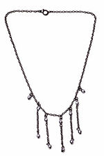 ROMANTIC FEMININE BLACK METAL CHAIN NECKLACE SPARKLY GREY BEADS TASSELS (ZX17)