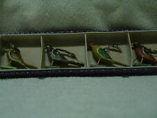 """VINTAGE/ANTIQUE BIRDS 4 CHRISTMAS ORNAMENTS 2""""  TALL 2 3/4"""" LONG FREE SHIPPING"""