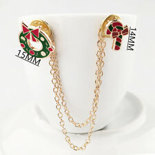 Xmas Wreath Crutches Chain Brooch Pin Collar Christmas Decoration Red & Green
