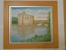 Oil Painting of Carrigadrohid castle Ireland,historic scene on a canvas sheet