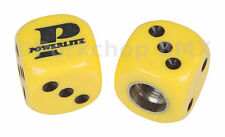 Powerlite old school BMX bicycle tire Schrader valve DICE caps (PAIR) YELLOW