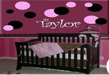 30 POLKA DOTS & PERSONALIZED NAME VINYL WALL DECAL DECOR STICKER