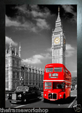 BLACK FRAMED LONDON RED BUS AND TAXI - 3D MOVING PICTURE POSTER 300mm X 400mm