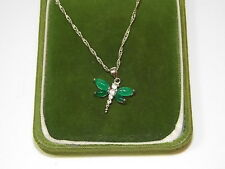 Dainty Green Jade Shiny Stones Dragonfly 18K White Gold Plated Pendant 11d 33