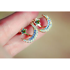 Women lady Yellow Gold Filled Moon or Star Shape Crystal Rhinestone Stud Earring