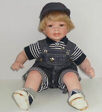 Porcelian Boy Doll Blond Hair Demin Outfit Hat Soft Body Blue Eyes