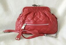 Marc Jacobs Little Stam Leather Crossbody Cross body Kiss Lock Red Silver Bag