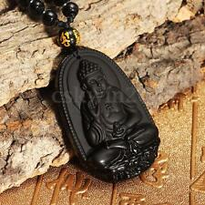 Natural Black Obsidian Carved Lucky Buddha Amulet Pendant with Beads Necklace