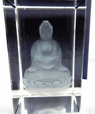 Crystal Block with Laser Etched Seated Buddha - BNIB - Gift Box