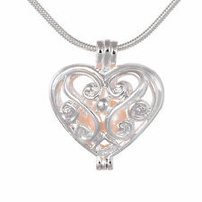 Love Heart Locket Pearl Necklace Pendant Freshwater Cultured Pearl Oyste Cage