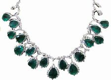 EMERALD AND DIAMOND NECKLACE SEVENTEEN PEAR SHAPE EMER