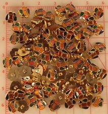 """144 plastic multi color gold shank buttons oval pear rectangle blue green 3/4"""""""