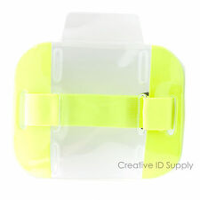 Reflective Yellow Arm Band Photo ID Badge Holder Vertical w/ Elastic Yellow Band