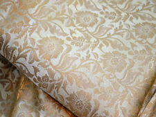 Banarsi Brocade Fabric Cream Gold floral Weaving Brocade Fabric