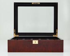 Wolf Designs Savoy 10 Piece Watch Box Storage Chest Organizer Case Burlwood