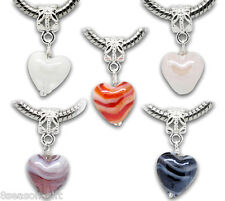 20 Mixed Glass Heart Dangle Beads Fit Charm Bracelet