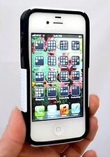 NEW iPhone 4 4S 2 Layer Protective Case WHITE/BLACK Silicone & Hard Poly Shell