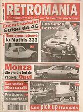 RETROMANIA 30 SIMCA 1000 1200 S COUPE MATHIS 333 OPEL MONZA SALON 1946 PICK-UP