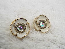 Goldtone Rhinestone Irridescent Cabochon Pierced Earrings (D61)