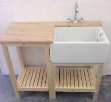 Complete Unit , Oak Worktop , Belfast Sink And Traditional Tap Ideal Utility