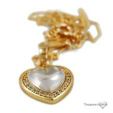 14k Yellow Gold Filled Smooth Crystal Heart Pendant Necklace with Cubic Zircons