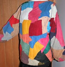 """VINTAGE 80s 100% Leather Tunic Top 56"""" Bust Multi Patchwork BATWING"""