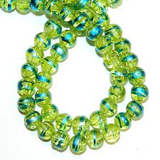 G1484L Yellow 8mm Round Crackle Glass Drawbench Metallic Swirl Beads 32""