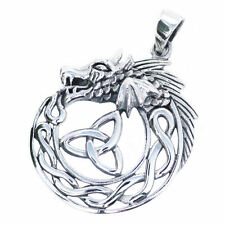 Solid Sterling Silver Celtic Dragon with Triquetra Trinity Knot Pendant P044
