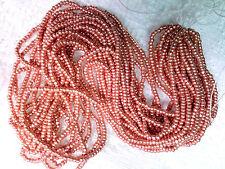 Vtg 1 HANK DEEP ROSE GOLD GLASS CHARLOTTE TINY BEADS 13/0 CZECH #070112b