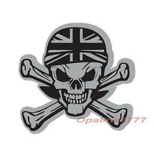STICKER REFLECHISSANT TETE DE MORT SKULL BIKER CASQUE UNION JACK MOTO SCOOTER