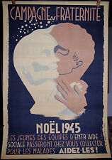AFFICHE CAMPAGNE de FRATERNITE NOËL 1945, LEBEE (au dos, PUB BISCUITS VIDILLES)