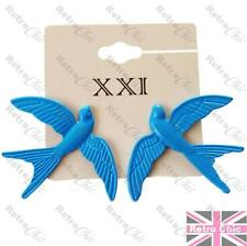 4cm BIG oversize SWALLOW studs STUD EARRINGS metal ENAMEL blue bird FLYING BIRDS
