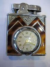 Vintage Windsor Time Lite Automatic Swiss Made Deluxe Art Deco Lighter & Clock