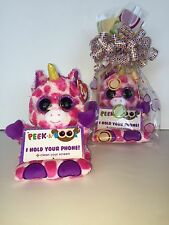 "TY UNI UNICORN 3 1/2"" PEEK-A-BOOS SMART PHONE HOLDER IN CELLO-NEW WITH TAG-FUN"