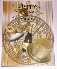 Handmade Greeting Card 3D Happy New Year With Champagne And A Top Hat
