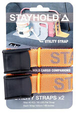 2 x Stayhold Car Cargo Boot Tidy Organiser Tool Utility Safety Straps - Orange