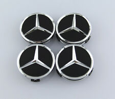 4Pcs 75mm Black Mercedes Benz Car Sticker Emblem Wheel Center Hub Cap Cover