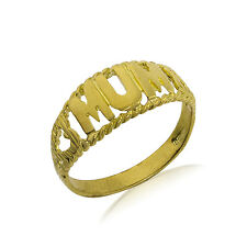 9CT GOLD SOLID MUM MUMMY MOTHER HEARTS DOME SIDE RING BAND GIFT BOX