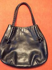 Desmo Italian Black Textured Leather Satchel Purse Handbag Braided Fab Condition