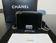 CHANEL Velvet Quilted Small Boy Flap Black Shoulder Bag Handbag Purse