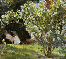 Roses. Marie Kroyer seated in the chaise longue Deckchair in the Garden jardin B a3 03058