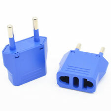 Blue US/AU to EU AC Power Plug European Travel Wall Charger Converter Adapter
